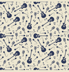 vintage musical seamless pattern with guitars vector image vector image