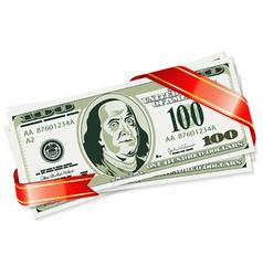 gift of dollar bills vector image vector image