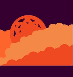 halloween orange moon in the clouds of the bat vector image vector image