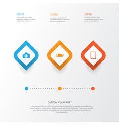 Hardware icons set collection of camera vector