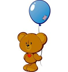 teddy with balloon vector image vector image