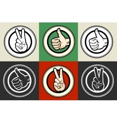 Thumb up and Victory gestures emblem set vector image