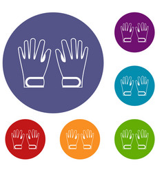 Winter gloves icons set vector