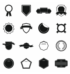 Badges icons set simple style vector image