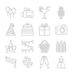 Birthday party line icons vector