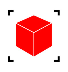 cube sign red icon inside vector image