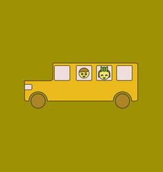 Flat icon thin lines school bus vector
