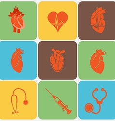 Medical Heart Icon Set vector image vector image