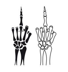 Skeleton hand shows middle finger vector