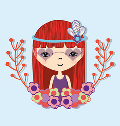 Woman with flower in the head and branches flowers vector