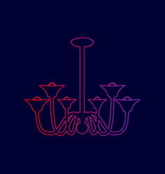 chandelier simple sign line icon with vector image