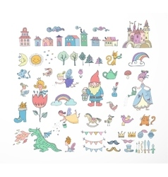 Collection of fairy tales hand drawn doodles vector image vector image