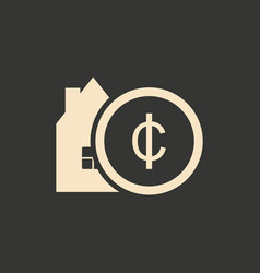 Flat in black white design coin and house vector