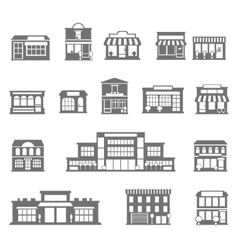 Stores and malls black white icons set vector image