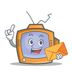 tv character cartoon object with envelope vector image vector image