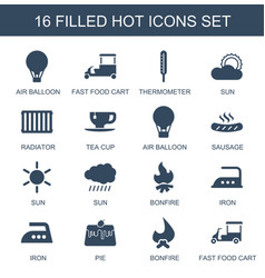 16 hot icons vector