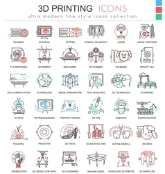 3d printing color line outline icons vector
