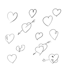 A set of sketches of the heart symbol vector