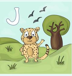 alphabet letter j and jaguar abc book vector image