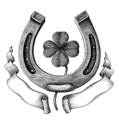 antique of horseshoe and clover leaf with ribbon vector image