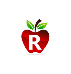Apple letter r logo design template vector