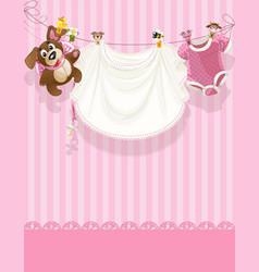 bagirl pink openwork announcement card vector image