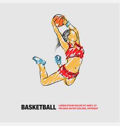 Basketball slam dunk girl player vector