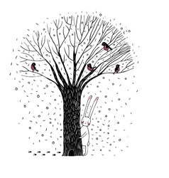 Beautiful trees birds and rabbit vector