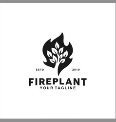 black and white fire leaf logo design inspiration vector image