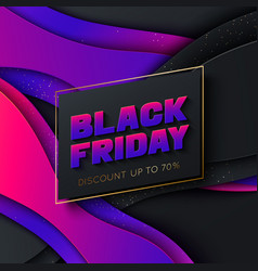 black friday colorful poster template paper style vector image