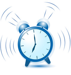 Blue alarm clock sounds and vibrates vector