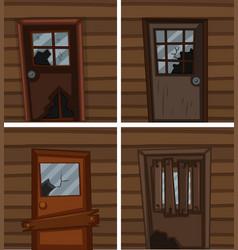 Broken windows and doors vector