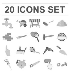 building and architecture monochrome icons in set vector image