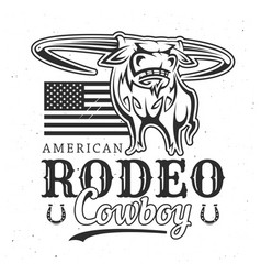bull rodeo wild west sport t-shirt print vector image