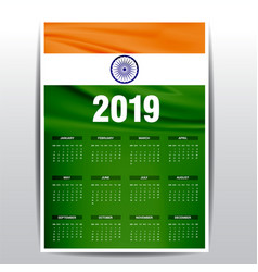 Calendar 2019 india flag background english vector