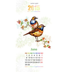 calendar for 2015 june vector image