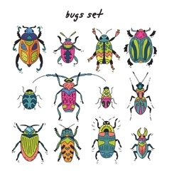 Cartoon bugs in set vector image
