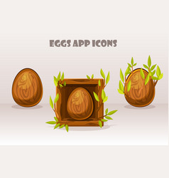 cartoon isolated wooden eggs in square of twigs vector image