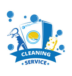Cleaning service label design yellow and blue vector