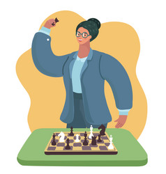 Clever woman with glasses playing chess vector
