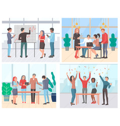 co working set office life situations vector image