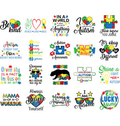 collection autism phrases slogans or quotes vector image