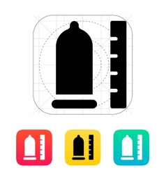 Condom with ruler icon vector