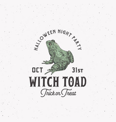 creepy witch toad halloween night party sign logo vector image