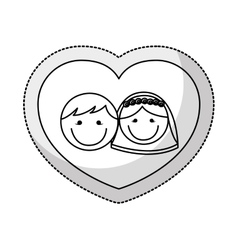 Cute little just married couple vector