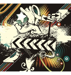 Dancer with grunge vector