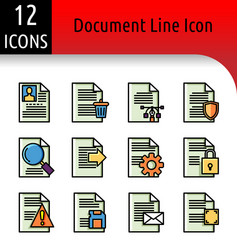 Document line color icon vector