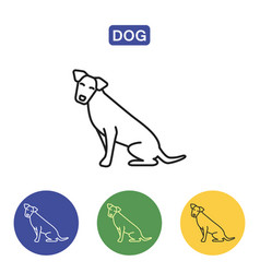 dog line icon vector image