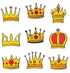Doodle set crown elegant style vector