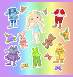 Dress a cute doll with sets of clothes with vector